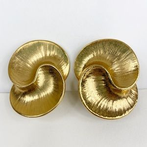 Rare Vintage Givenchy Large Swirl Clip On Earrings